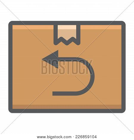 Return Shipping Filled Outline Icon, Logistic And Delivery, Cardboard Box Sign Vector Graphics, A Co