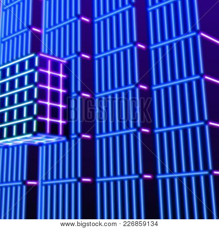 Neon Background With Ultraviolet Glowing Grid Of 80s Styled Blue And Purple Landscape Or Laser Struc