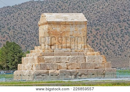 Tomb Of Cyrus The Great Is The Most Important Monument In Pasargadae Old Ruins Near Shiraz, Iran.