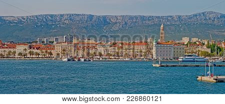 Split, Croatia - June 23 2016: Panoramic View Of The Old Historic City On A Sunny Day.