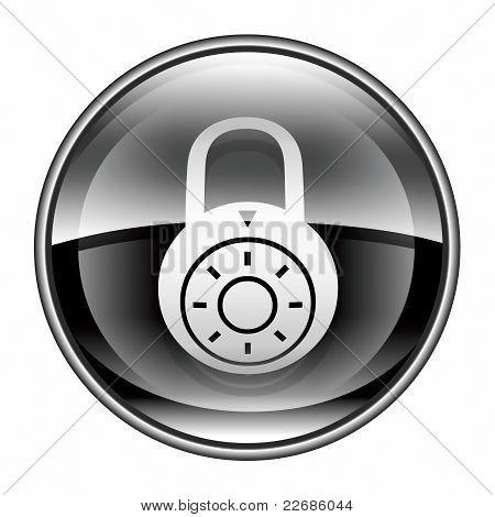Lock Off, Icon Black, Isolated On White Background.