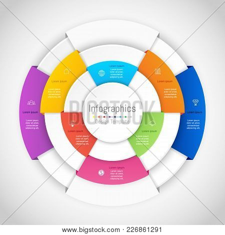 Infographic Design Elements For Your Business Data With 8 Options, Parts, Steps, Timelines Or Proces