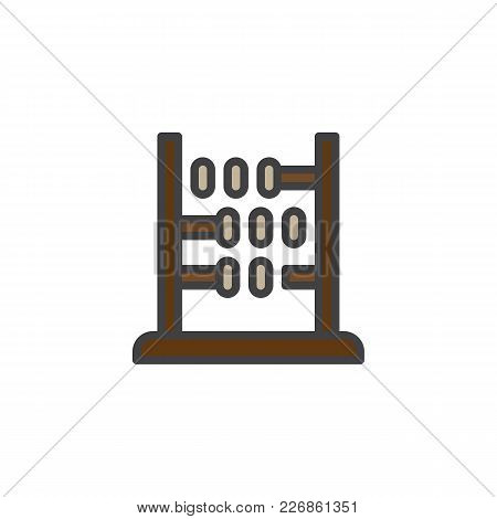 Abacus Filled Outline Icon, Line Vector Sign, Linear Colorful Pictogram Isolated On White. Arithmeti