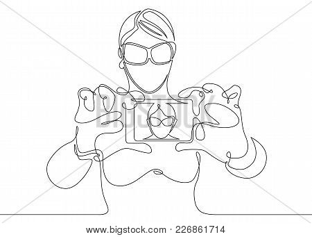 Continuous One  Line Drawing Girl Female Tourists Selfie Phone Device