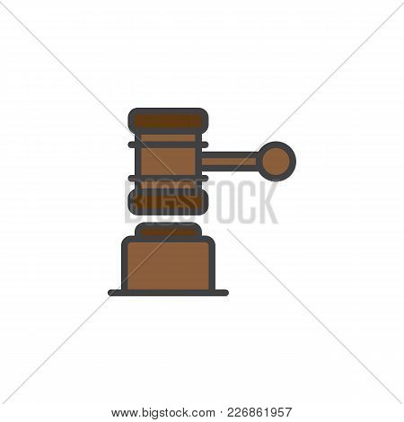 Judge Gavel Filled Outline Icon, Line Vector Sign, Linear Colorful Pictogram Isolated On White. Law,
