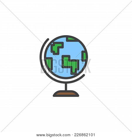 Earth Globe Filled Outline Icon, Line Vector Sign, Linear Colorful Pictogram Isolated On White. Geog