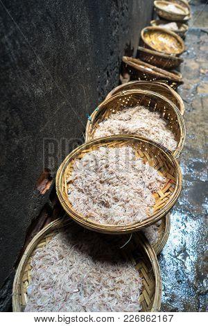 Fresh Tiny Shrimp On Basket At Market In Quy Nhon, South Vietnam