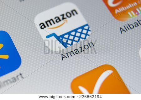 Sankt-petersburg, Russia, February 9, 2018: Amazon Shopping Application Icon On Apple Iphone X Scree