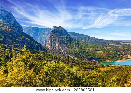 Canyon and the river Verdon. Provence, Alpes, France. Fascinating journey through the azure waters. The Verdon River. Concept of ecological and active tourism