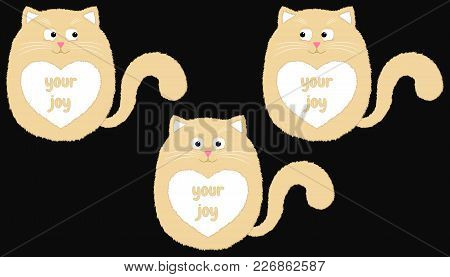 Vector Beige Cat In Cartoon Style. Funny Illustration Of Sitting Beige Kitten With White Heart-spot
