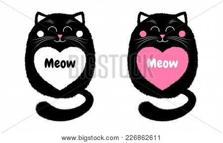 Vector Black Cat In Cartoon Style. Funny Illustration Of Sitting Black Kitten With Closed Eyes, With