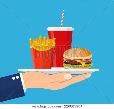 Waiter Serving A Hamburger French Fries And Soda. Fast Food Concept. Vector Illustration In Flat Sty