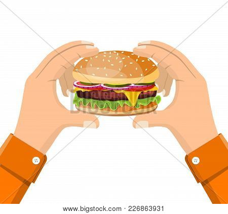 Hamburger Holding In Hand, Isolated. Vector Illustration Flat Style Design. Eating Fast Food Concept
