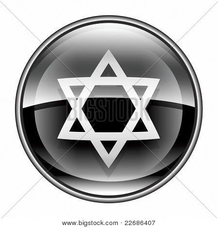 David Star Icon Black, Isolated On White Background.