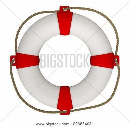 3d Rendering Of Lifebuoy With Rope Isolated On White. Clipping Path Included.