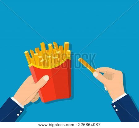 French Fries In Hands Of Men. French Fries In Paper Box. Vector Illustration In Flat Style