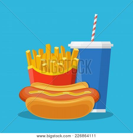 Fast Food Lunch With French Fries, Hot Dog And Soda Takeaway. Vector Illustration In Flat Style