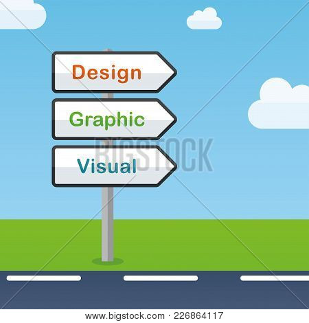 Illustration Of Design Direction Signs Abstract Concept