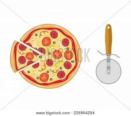Italian Pizza With Tomato, Sausage, Pepperoni And Mushrooms. Top View. Pizza With Slice. Pizza Cutte