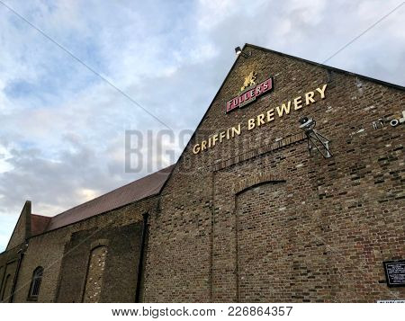 LONDON - FEBRUARY 12, 2018: The Fuller's Griffin Brewery in Chiswick, London, UK.