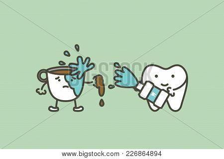 Cleaning Tooth By Mouthwash To Prevent Yellow Teeth From Coffee Stain  - Dental Cartoon Vector Flat