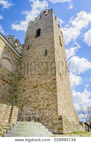 Tsarevets Bell Tower Close Up Toward View In Tarnovo, Bulgaria