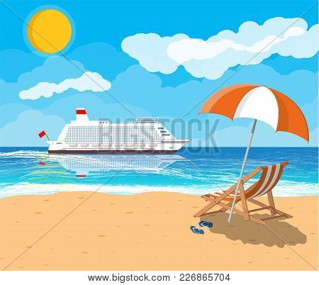 Landscape Of Wooden Chaise Lounge, Umbrella, Flip Flops On Beach. Cruise Liner Ship. Sun With Reflec