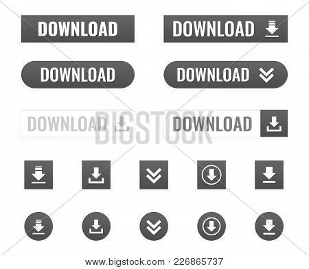 Download Button Vector Set On White Background