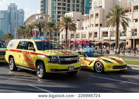 Dubai, Uae - November 28, 2015: Fire And Rescue Cars. Parade Celebrate 44th Anniversary National Day