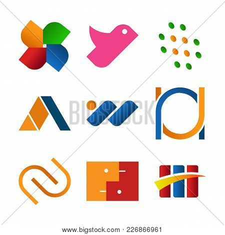 Simple Abstract Corporate Symbol Shape Vector Illustration Graphic Design Set