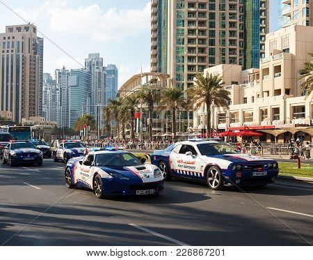 Dubai, Uae - November 28, 2015: Ambulance Car. Parade Celebrate 44th Anniversary National Day United