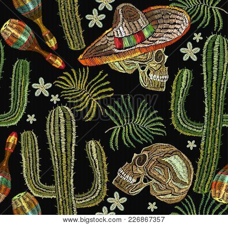 Classical Ethnic Embroiderys Kull In Sombrero, Day Of The Dead Art Pattern. Clothes Template, T-shir