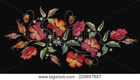 Embroidery Roses Flowers T-shirt Design. Template For Clothes, Textiles, T-shirt Design. Beautiful R