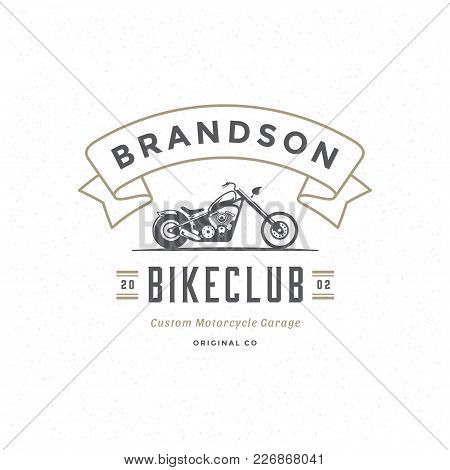 Motorcycle Club Logo Template Vector Design Element Vintage Style For Label Or Badge Retro Illustrat
