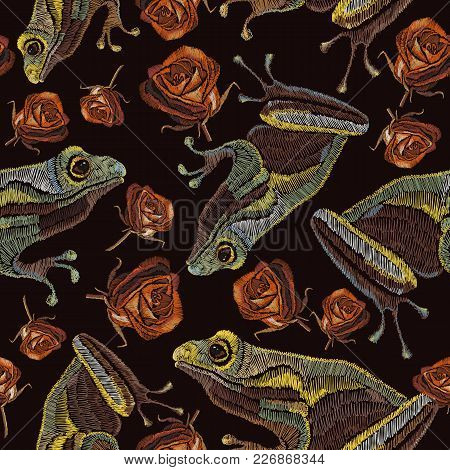 Frog And Roses Vintage Fashion Pattern. Template For Clothes, Textiles, T-shirt Design. Embroidery F
