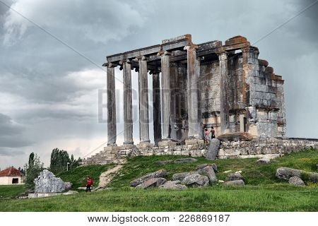 Kutahya, Turkey - April 06, 2017; Tourists Are Visiting To Aizanoi Ancient City In Cavdarhisar
