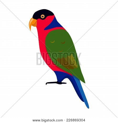 Black-capped Lory Parrot Icon In Flat Style. Tricolored Lorikeet. Australian Exotic Bird Symbol On W