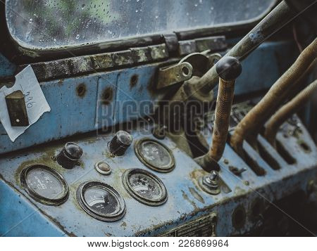 The Dashboard Of Old Retro Tractor Close Up