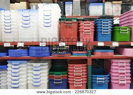 Plastic Containers In Houseware Store.storage Boxes On Shelf