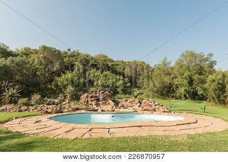 Excelsior, South Africa, February 9, 2018: The Swimming Pool At Korannaberg Adventures Near Excelsio