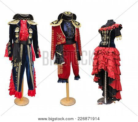 Colorful Stylized Spanish Medieval Costume Clothes On Mannequin Isolated