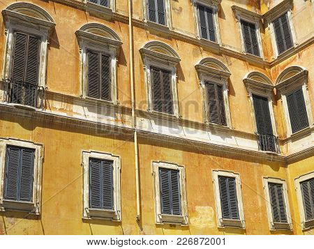 Facade Of A Classical Building In The Historical Center Of Rome, Italy