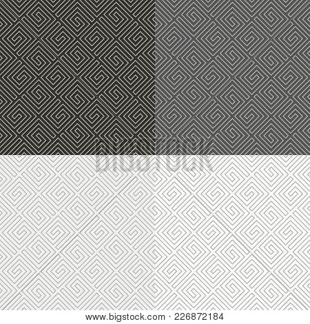 Set Of Abstract Geometric Spiral Seamless Pattern. Meander Seamless.