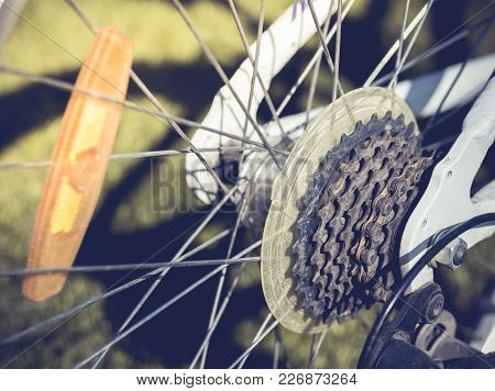 Closeup Of A Bicycle Gears Mechanism On The Rear Wheel