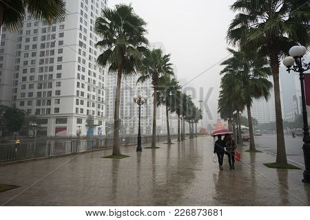 Urban Street In Rain With Tree Rows And Women Walking With Umbrella