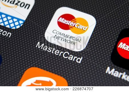 Sankt-petersburg, Russia, February 16, 2018: Mastercard Application Icon On Apple Iphone X Screen Cl