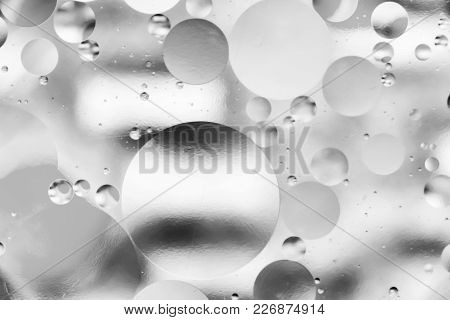Water And Oil, Beautiful Abstract Background Based On Circles And Ovals, Macro Abstraction