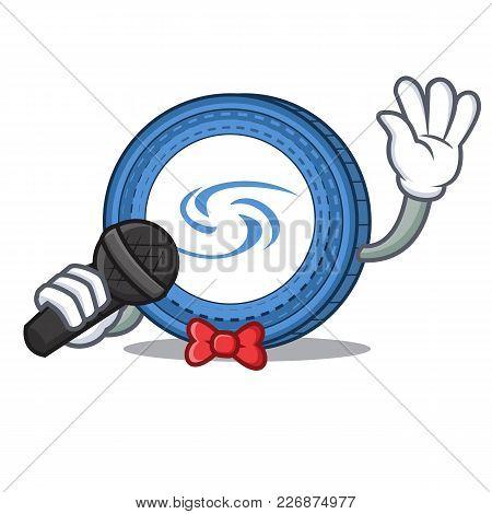 Singing Syscoin Mascot Cartoon Style Vector Illustration