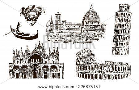 Italian Architectural Symbols: Coliseum, Duomo Santa Maria Del Fiore, Pisan Tower, Basilica Di San M