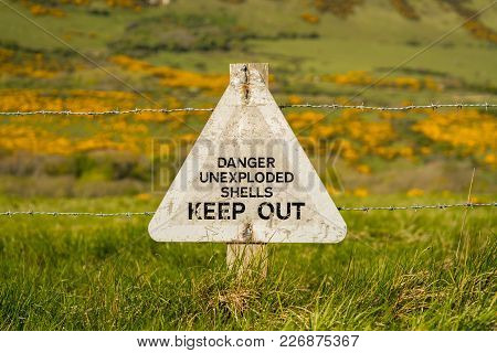 Sign: Danger Unexploded Shells Keep Out, Seen On The South West Coast Path Between Worbarrow Bay And